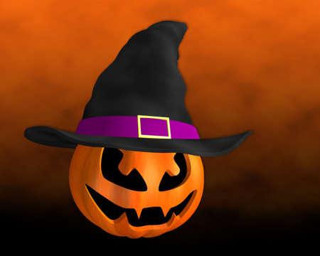 3d  illustration: 3D illustration halloween pumpkin witch