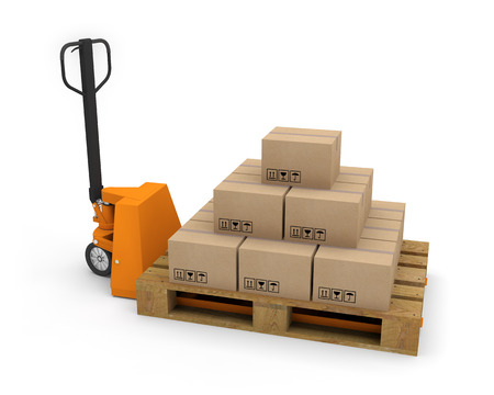 Pallet truck forklift 3d pallet boxes illustration