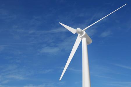 turbina wiatrowa ilustracja 3D błękitne niebo