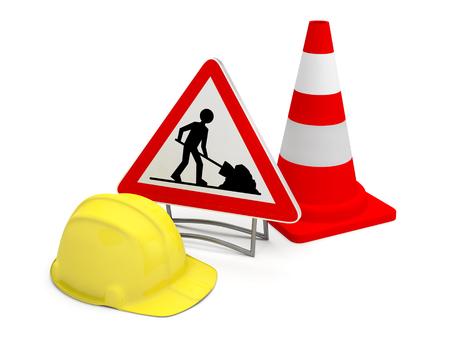 under construction panel cone 3D helmet works Stock Photo