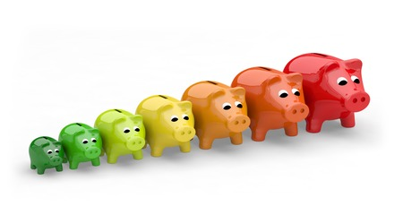 energy efficiency rating performance piggy bank Stock Photo