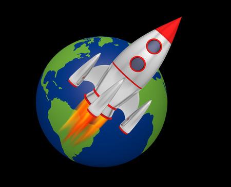 earth rocket takeoff 3D Foto de archivo - 116440830
