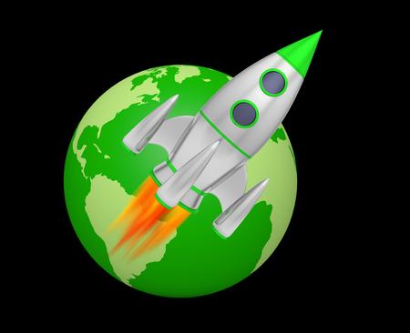 earth rocket takeoff 3D Foto de archivo - 117352606