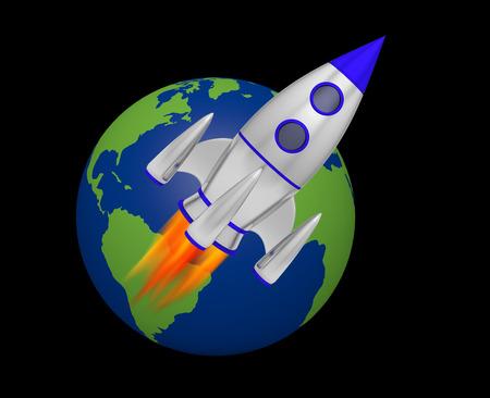 earth rocket takeoff 3D Foto de archivo - 117352913