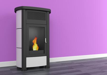 Pellet stove heating 3D
