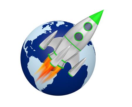 earth rocket takeoff 3D Foto de archivo - 119668158