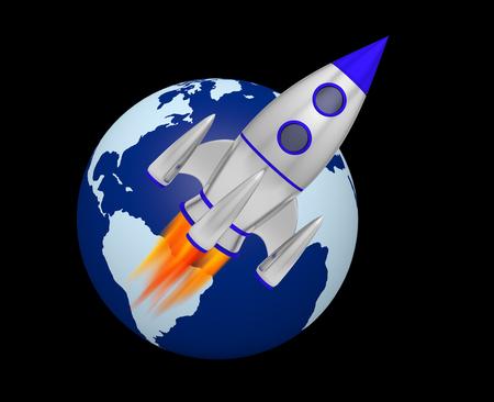 earth rocket takeoff 3D Foto de archivo - 119668259