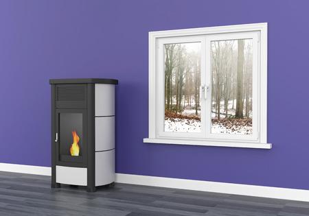 Pellet stove heating 3D Foto de archivo - 119668277