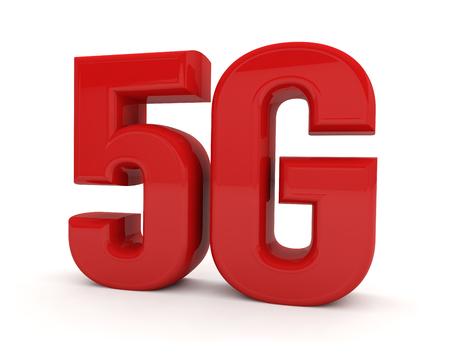 5G network technology wireless internet text 3D Foto de archivo - 119668451