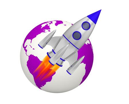 earth rocket takeoff 3D Foto de archivo - 119668454