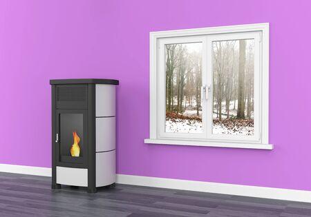 Pellet stove heating
