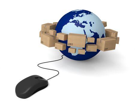 e-commerce earth mouse internet shopping delivering online