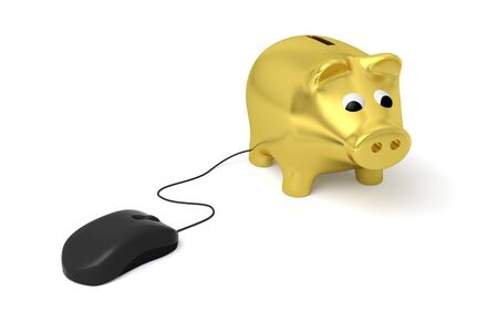 piggy bank pig business finance e-banking economy internet mouse 3D 스톡 콘텐츠
