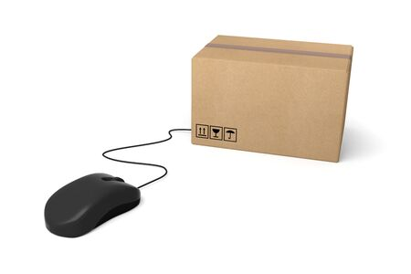 e-commerce mouse internet shopping delivering online 3D 스톡 콘텐츠