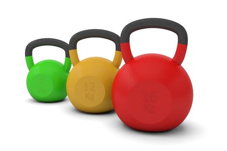 Kettlebells weight training trainer bodybuilding fitness weightlifting sport 3D