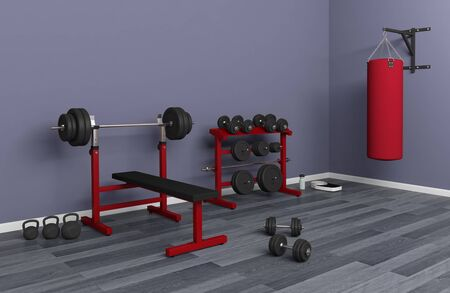 bodybuilding gym bench with dumbbell rack dumbbells punching bag kettlebell weight lifting 3D