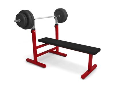 gym bench with dumbbell barbell weight bodybuilding weightlifting 3D 스톡 콘텐츠