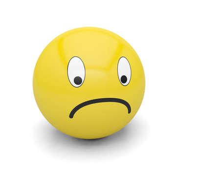 smiley sad emotion icon face head cartoon emoticon 3D