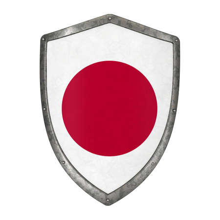 shield flag japan japanese asia emblem country state shape 3D 스톡 콘텐츠