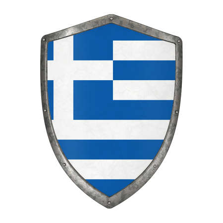 shield flag greece greek emblem country state shape 3D 스톡 콘텐츠