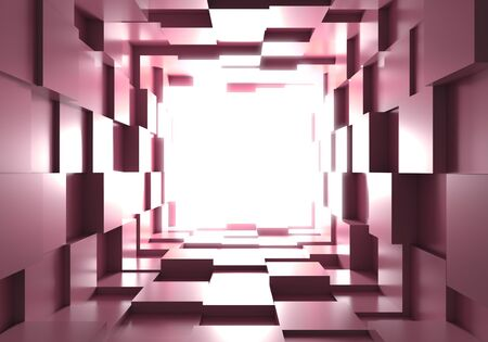 tunnel cube box background light 3D 스톡 콘텐츠
