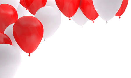 balloon red white birthday background party 3D