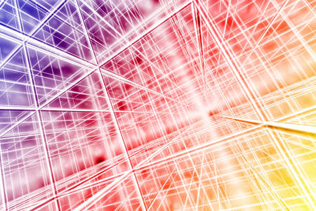 tesseract background abstract network cyber web multicolor 3D 스톡 콘텐츠
