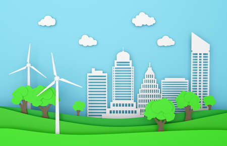 landscape paper city ecology green energy wind turbine 3D 스톡 콘텐츠