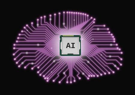 AI artificial intelligence CPU brain printed circuit board microprocessor 3D Stok Fotoğraf