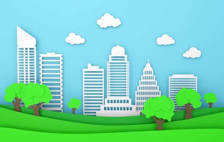 landscape paper city ecology building modern city nature