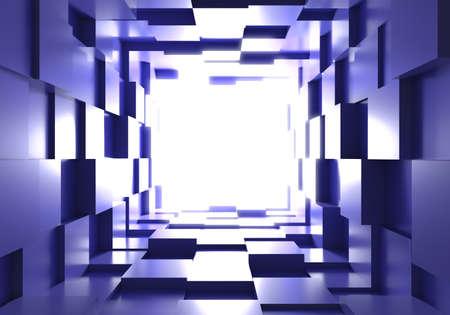 tunnel cube box background light 3D Stok Fotoğraf