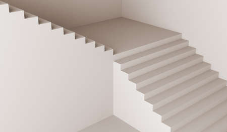 staircase white stair stairway architecture minimalism 3D illustration Stok Fotoğraf