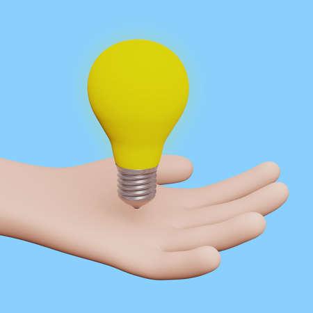 Bulb hand idea lamp innovation inspiration creativity 3D Stok Fotoğraf