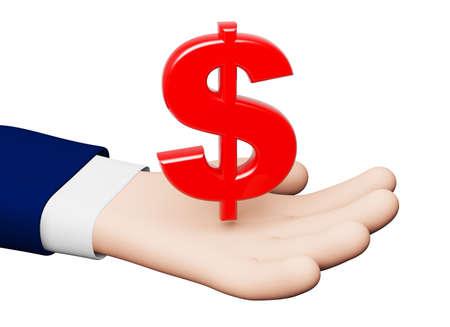 hand dollar symbol 3D Stok Fotoğraf