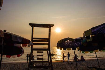 Lifeguard Stand on  the beach bangsaen Thailand photo