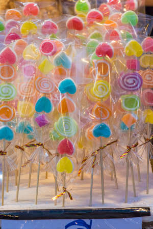 candy stick: Colorful jelly candy stick on fabric