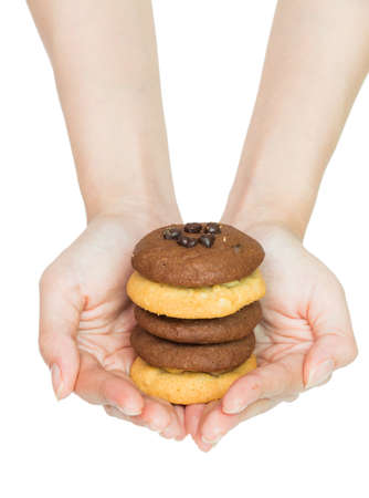 Isolation  cookie  on hand in white studio background  photo