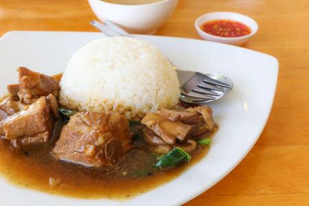 rou: Braised Pork Rice  on a dish  Stock Photo