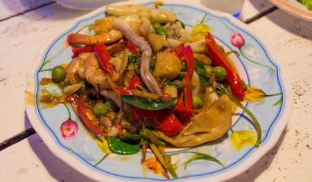 Spicy Stir Fried Sea Food,Thai Food  photo