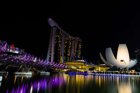double helix: Marina Bay Sands Hotel, Double Helix Bridge, Singapore Arts and Science Museum.
