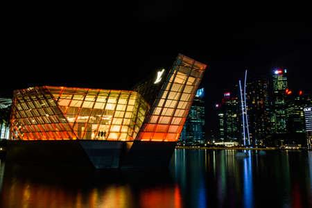 vuitton: futuristic building of Louis Vuitton shop in Marina Bay, Singapore Editorial