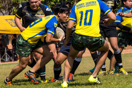 la union hace la fuerza: Khonkaen, Thailand-February 6:Unidentified rugby players in action during the khon kaen university game at khon kaen university Stadium on February 6, 2016, Thailand Editorial