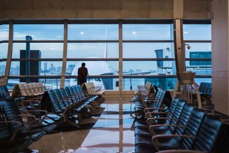Dubai airport, United Arab Emirates - April 13 2019 : waiting in the airport