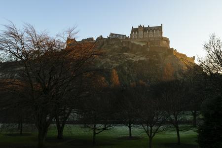 Edinburgh Castle in morning golden light