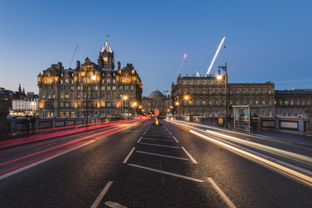 Light trails on North Bridge Edinburgh