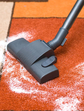 Cleaning by a vacuum cleaner, collects dust photo