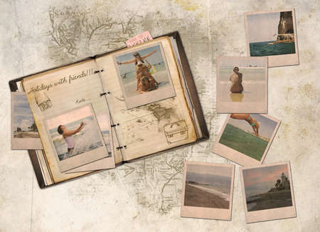 Collage, holiday with friends in a diary photo
