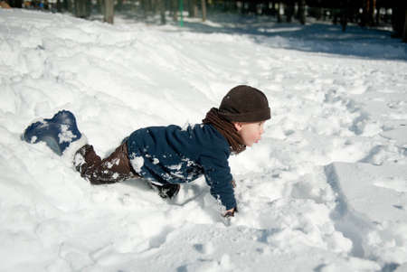 to steer a sledge: Boy Playing with snow