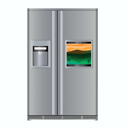 Fridge with TV Stock Vector - 12483813