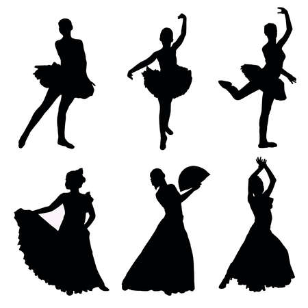 A set of silhouettes of dancers Vector